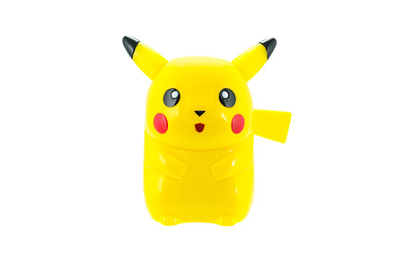 Bangkok,Thailand - May 11, 2014: Pickachu toy character from Pokemon anime. There are toy sold as part of McDonald Happy Meal toy.