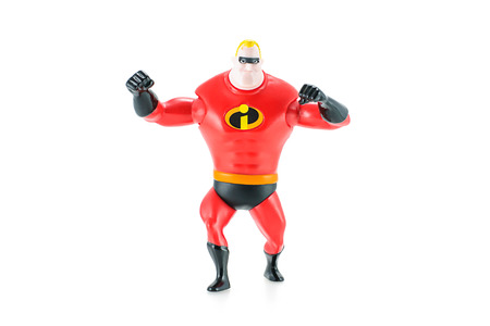 superpowers: Bangkok, Thailand - May 5, 2015: Mr. Incredible Bob Parr figure toy character from Disney Pixar animated film The Incredibles. There are plastic toy sold as part of the McDonalds Happy meals.