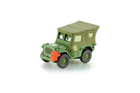 disney: Bangkok, Thailand - May 11, 2015: Sarge 1941 Willys military Jeep car a protagonist of the Disney Pixar feature film Cars. A diecast cars collection from Mattel inc. Editorial