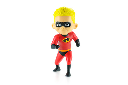 computer animation: Bangkok, Thailand - May 5, 2015: Dashiell Robert Parr figure toy character from Disney Pixar animated film The Incredibles. There are plastic toy sold as part of the McDonalds Happy meals.