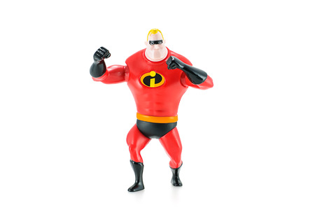 disney: Bangkok, Thailand - May 5, 2015: Mr. Incredible Bob Parr figure toy character from Disney Pixar animated film The Incredibles. There are plastic toy sold as part of the McDonalds Happy meals.