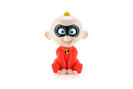 superpowers: Bangkok, Thailand - May 5, 2015: John Jackson Jack-Jack Parr figure toy character from Disney Pixar animated film The Incredibles. There are plastic toy sold as part of the McDonalds Happy meals.