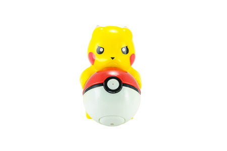 Bangkok,Thailand - May 13, 2014: Pickachu toy character from Pokemon anime. There are toy sold as part of McDonald Happy Meal toy.