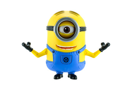 Bangkok,Thailand - May 17, 2015: Minions toy isolated on white background an action figure from Despicable Me 2 animated 3D film produced by Illumination Entertainment for Universal Pictures. Editorial