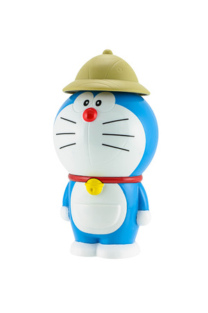 Bangkok,Thailand - May 17, 2015: Doraemon a blue robot cat with brown hat a main protagonist of Doraemon Japanese animation cartoon. There are plastic toy sold as part of the McDonalds Happy meals.