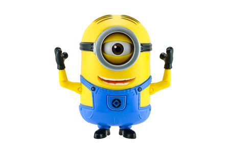 Bangkok,Thailand - May 17, 2015: Minions toy isolated on white background an action figure from Despicable Me 2 animated 3D film produced by Illumination Entertainment for Universal Pictures. Redactioneel