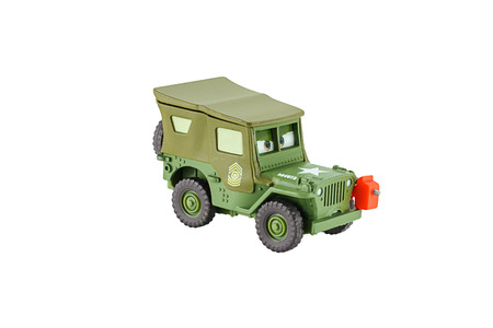 disney cartoon: Bangkok, Thailand - May 11, 2015: Sarge 1941 Willys military Jeep car a protagonist of the Disney Pixar feature film Cars. A diecast cars collection from Mattel inc. Editorial