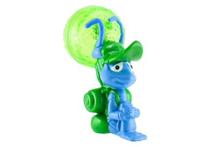 mcdonalds: Bangkok,Thailand - May 23, 2015: Flik with a leaf backpack figure toy character from Disney Pixar a Bugs Life animation movie.There are plastic toy sold as part of the McDonalds Happy meals.