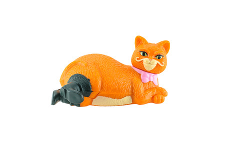 mcdonalds: BangkokThailand  May 23 2015: Puss in Boots the  fat orange cat figure toy character from Shrek animation movie.There are plastic toy sold as part of the McDonalds Happy meals.