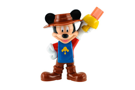 BangkokThailand  May 23 2015: Mickey mouse in knight suite isolated on white. There are plastic toy sold as part of the McDonalds Happy meals.