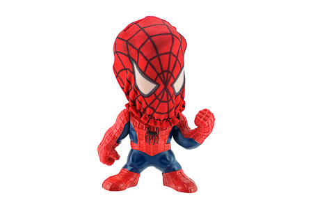 spiderman: BangkokThailand  May 26 2015: Masked Spidey toy character form Spider Man 3 film. There are plastic toy sold as part of the Burger King toys. Editorial