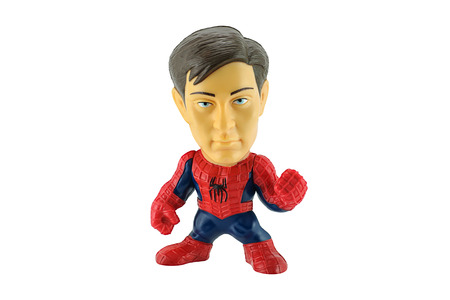 spider man: BangkokThailand  May 26 2015: Spiderman removeable mask toy character form Spider Man 3 film. There are plastic toy sold as part of the Burger King toys. Editorial