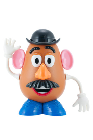 Bangkok, Thailand - June 8, 2015: Studio shot of Mr. Potato Head toy character from Toy Story animation films by Disney Pixar studio. 報道画像