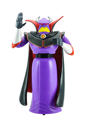 toy story: Bangkok, Thailand - June 8, 2015: Studio shot of Emperor Zurg toy character from Toy Story animation films by Disney Pixar studio.