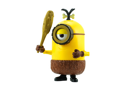 a cudgel: Bangkok,Thailand - May 17, 2015: Cro-Minion fictional character from Minions animated 3D film produced by Illumination Entertainment for Universal Pictures.