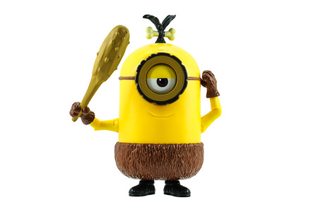 a cudgel: Bangkok,Thailand - June 20, 2015: Cro-Minion fictional character from Minions animated 3D film produced by Illumination Entertainment for Universal Pictures.