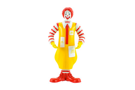 Bangkok, Thailand - June 4, 2015: Ronald Mcdonald Mascot of a McDonalds Restaurant.  There are plastic toy sold as part of the McDonalds Happy meals. Editorial