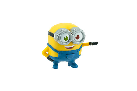 animated action: Bangkok, Thailand - September 27, 2015: Bob minions toy character isolated on white background an action figure from Minions animated 3D film produced by Illumination Entertainment for Universal Pictures. Editorial