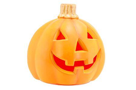 jack o  lantern: Halloween pumpkin scary Jack O Lantern isolated on white background.