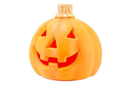 Halloween pumpkin scary Jack O Lantern isolated on white background.