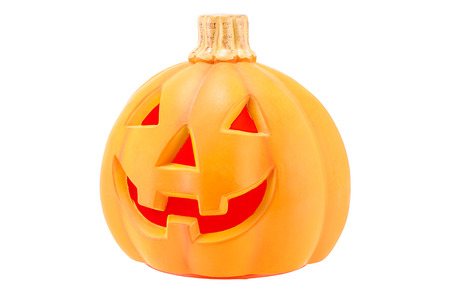 cucurbit: Halloween pumpkin scary Jack O Lantern isolated on white background.