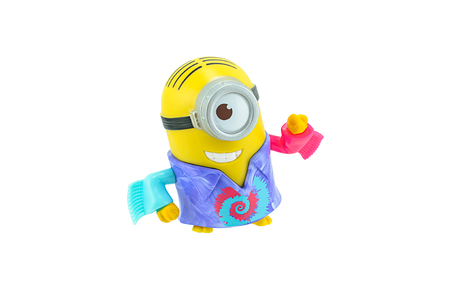 groovy: Bangkok, Thailand - September 27, 2015: Groovy minions toy character isolated on white background an action figure from Minions animated 3D film produced by Illumination Entertainment for Universal Pictures. Editorial