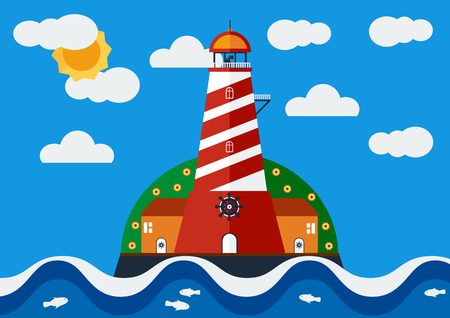 clound: Vector illustration of Lighthouse with blue sea in clear sky with sun and cloud.
