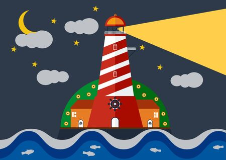 Vector illustration of Lighthouse with blue sea in inght  with moon and stars. Illustration
