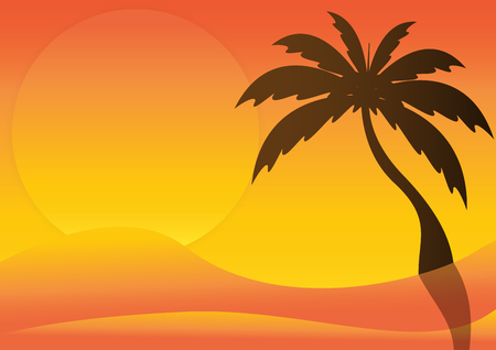yellow adventure: Silhouette of desert with sunrise and palm tree. Vector illustration.