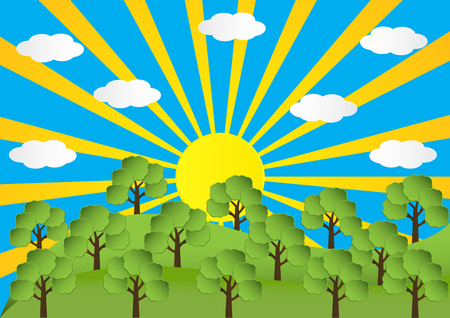 Landscape of spring season mountain with sun ray and clound and trees. Vector illustration.