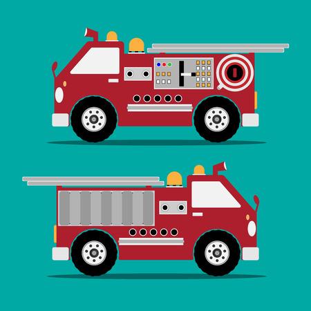 brandweer cartoon: Brandweerwagen rode motor auto met schaduw op groene achtergrond. Vector illustratie.