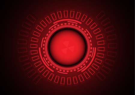Red danger circle of cybercrime in technology background, Vector illustration.