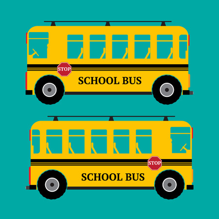 wagon: School bus yellow color on green background. Vector illustration.