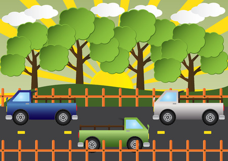 country road: Truck car on country road beautiful landscape. Vector illustration. Illustration