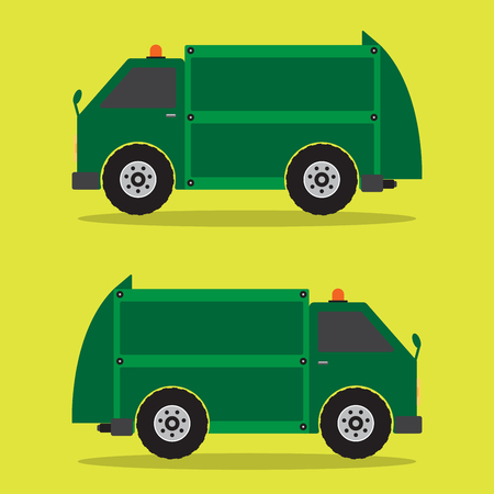 Garbage Truck flat design in green color. Vector illustration.  イラスト・ベクター素材