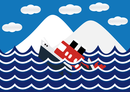 devastate: Sinking ship with iceberg and wave flat design. Vector Illustration.