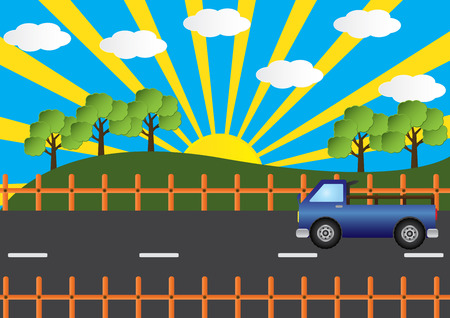 country road: Truck car on country road beautiful landscape with sun ray. Vector illustration.