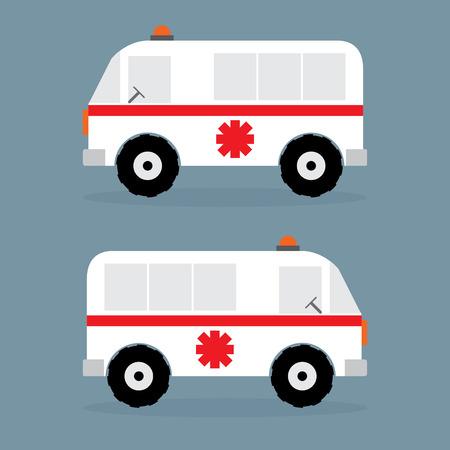 lllustration: Ambulance car flat design. Vector lllustration,