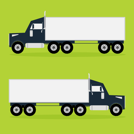 dock: Container tracker truck on green background with shadows. illustration.
