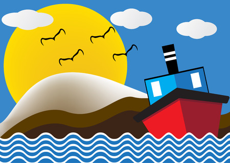ocean liner: Ocean liner boat ship at sea view in night with big moon and wave. flat design illustration.