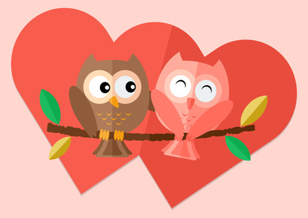sweetheart: Sweetheart owls  with love on tree  and two red hearts in background flat illustration. Illustration