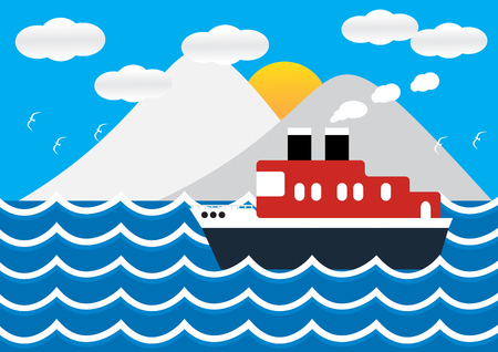 iceberg: Ocean liner boat ship at sea view in sunset with iceberg and wave. flat design illustration.