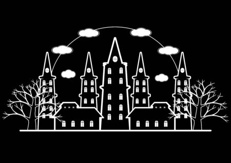 flaying: Black and white of horror castle with dead tree and bats flaying for Halloween background. illustration.
