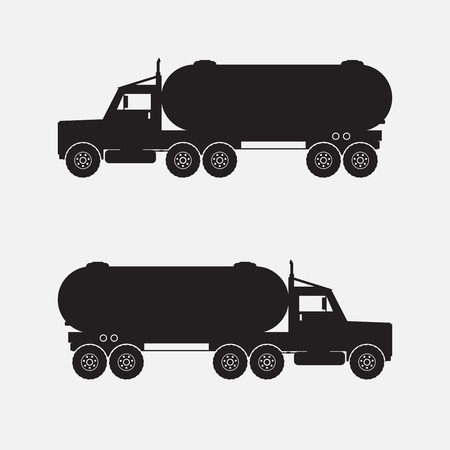 cistern: Heavy truck with chermical tank black color. illstration.