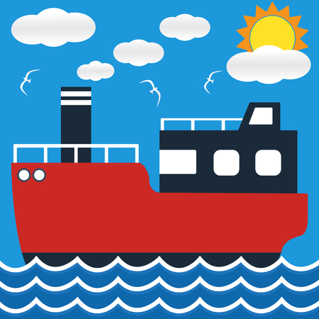 ocean liner: Ocean liner boat ship at sea view in day with big sun and wave. flat design illustration.