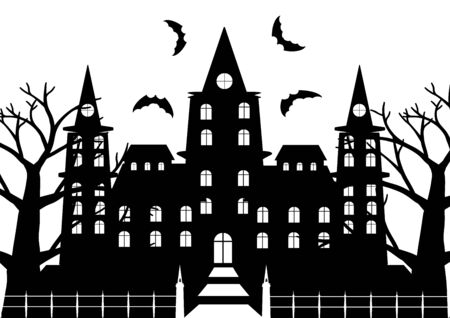 flaying: Black and white of horror castel with dead tree and bats flaying for halloween background. Vector illustration. Illustration
