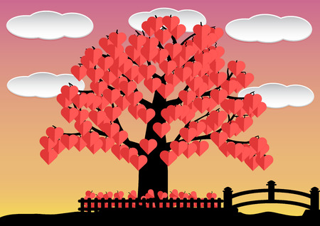clound: Love tree red heart leaf in garden with clound and bridge. illustration. Illustration