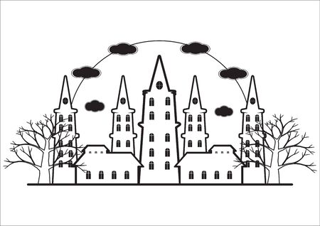 flaying: Black and white of horror castel with dead tree and bats flaying for halloween background. illustration.