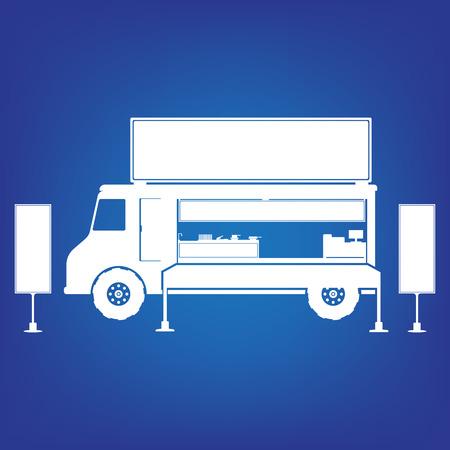 Food truck in white color on blue background. Flat design illustration.