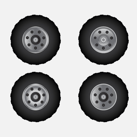 tyre tread: Road tires with wheel illustration design.